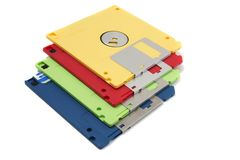 Pile of floppy disks. Pile of colorful computer floppy disks isolated on a white background Stock Photos
