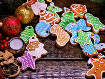 Pile of colorful cookies on a wooden table. Stock Photography