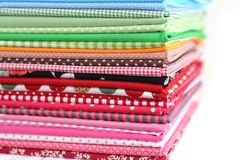 Pile of colorful cotton textile  background Royalty Free Stock Image