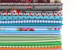 Pile of colorful cotton textile  background Royalty Free Stock Photography