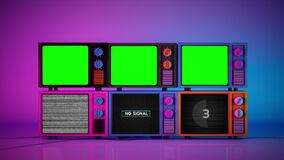 Pile of colorful 3d televisions with no signal and blank green screen monitor