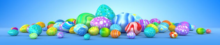 Pile of colorful Easter eggs. 3d render Royalty Free Stock Photos