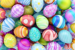 Pile of colorful Easter eggs. 3d render Royalty Free Stock Images