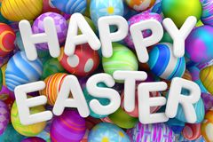 Pile of colorful Easter eggs with Happy Easter. 3d render Royalty Free Stock Images
