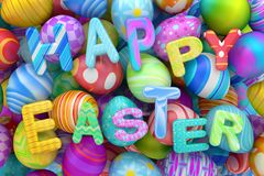 Pile of colorful Easter eggs with Happy Easter Royalty Free Stock Photo