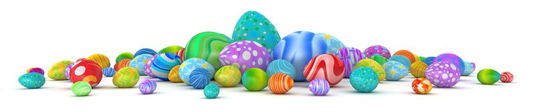 Pile of colorful Easter eggs isolated on white. 3d render Royalty Free Stock Photography