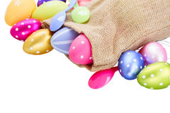 Pile of colorful easter eggs in pouch Royalty Free Stock Photos