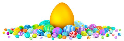 Pile of colorful Easter eggs surrounding a giant golden egg. 3d render Royalty Free Stock Image