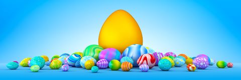 Pile of colorful Easter eggs surrounding a giant golden egg. 3d render Stock Images