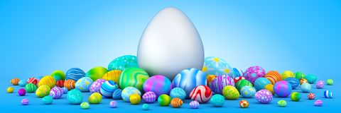Pile of colorful Easter eggs surrounding a giant white egg. 3d render Stock Images