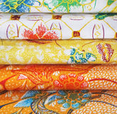 Pile of colorful fabric . Stock Images