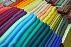 Pile of colorful fabric Stock Photos
