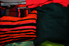 Pile of colorful fabrics Royalty Free Stock Images
