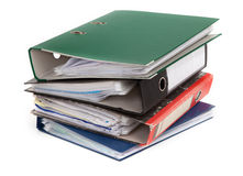 Pile of colorful files Stock Photo