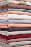 Pile of colorful folded textile Royalty Free Stock Photos