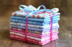 Pile of colorful folded textile. Royalty Free Stock Photos