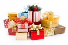 Pile of colorful gift boxes isolated on white background Stock Photo