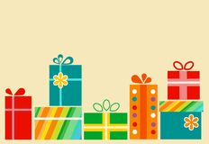Pile of colorful gift boxes with presents Stock Photography