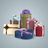 Pile of colorful gifts box Stock Images