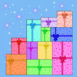 Pile of colorful gifts vector EPS Stock Photography