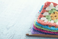 Pile of colorful granny squares Stock Photos