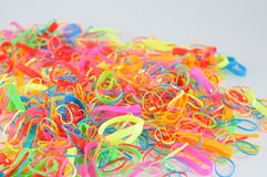 Pile of colorful hair rubber band. Stock Photos