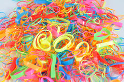 Pile of colorful hair rubber band. Royalty Free Stock Photography