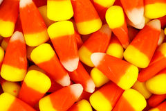 Pile of colorful Halloween candy corn. A closeup pile of colorful Halloween candy corn Royalty Free Stock Photos