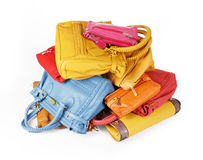 Pile of colorful handbags Royalty Free Stock Photos