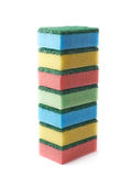 Pile of colorful kitchen sponges isolated Royalty Free Stock Photography