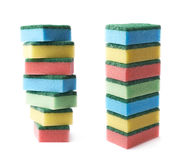 Pile of colorful kitchen sponges isolated Stock Photography