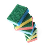 Pile of colorful kitchen sponges isolated Royalty Free Stock Images