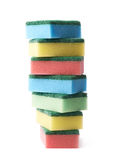 Pile of colorful kitchen sponges isolated Royalty Free Stock Photo