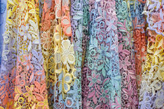 Pile of colorful lace fabric Royalty Free Stock Image