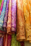 Pile of colorful lace fabric Stock Photo