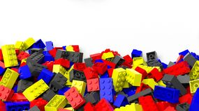 Pile of colorful lego blocks Stock Photos