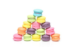 Pile of Colorful Macaroons Isolated on White Background With Cop Stock Image
