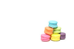 Pile of Colorful Macaroons Isolated on White Background With Cop Royalty Free Stock Image