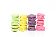 Pile of Colorful Macaroons Isolated on White Background With Cop Stock Photos