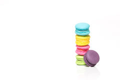 Pile of Colorful Macaroons Isolated on White Background With Cop Stock Photography