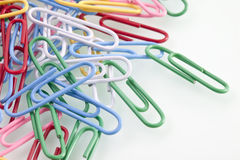 Pile of colorful paper clips, close up Royalty Free Stock Photography