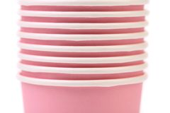 Pile of colorful paper coffee cup. Close up. Stock Photo