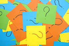 Pile of colorful paper notes with question marks Royalty Free Stock Images