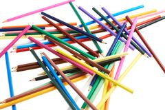 Pile of colorful pencils Royalty Free Stock Photos