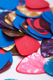 Pile of colorful plastic guitar picks Stock Image
