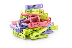 Pile of colorful plastic pegs Royalty Free Stock Photos