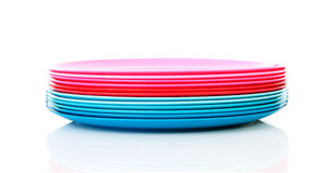 Pile of colorful plastic plates Stock Image