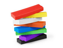 Pile of colorful plasticine isolated on white royalty free stock images