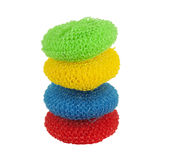 Pile of colorful pot scrubbers Stock Images