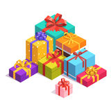 Pile of colorful present and gift boxes. Pile of bright, colorful present and gift boxes with ribbon bows. Flat isometric illustration on white background Stock Photos